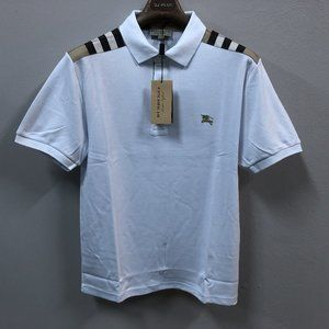 Burberry London Men White Shoulder Plaid PoloShirt